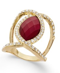 Inc International Concepts Gold Tone Large Stone And Pave Statement Ring Only At Macy's