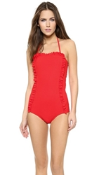 Chloe Sevigny For Opening Ceremony Chandler Ruffle One Piece Swimsuit Cherry Red