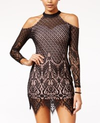 Material Girl Juniors' Lace Cold Shoulder Bodycon Dress Only At Macy's Black Combo