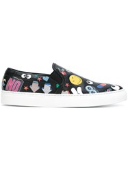 Anya Hindmarch 'Stickers All Over' Slip On Sneakers Black