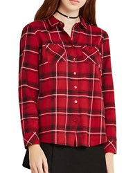 Bcbgeneration Tartan Cotton Plaid Shirt Red