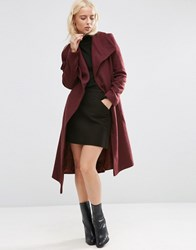 Asos Waterfall Trapeze Coat Berry Red