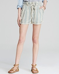 Free People Shorts Beachy Stripe Cream Tea Combo