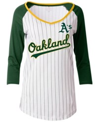 5Th And Ocean Women's Oakland Athletics Pinstripe Glitter Raglan T Shirt White