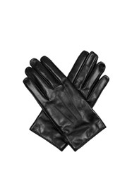 Lanvin Leather Gloves With Popper Close Black