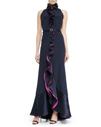 Roland Nivelais Sleeveless Ruffle Front Belted Gown Navy Pink