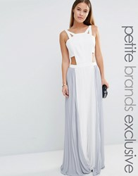 True Decadence Petite Cut Out Maxi Dress With Contrast Pleated Skirt Cream Grey