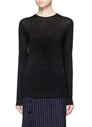 Acne Studios 'Marisol Tencel' Jersey Long Sleeve T Shirt Black