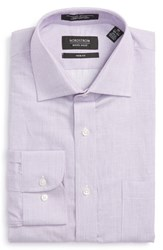 Nordstrom Men's Big And Tall Men's Shop Trim Fit Solid Linen And Cotton Dress Shirt Purple Mitten
