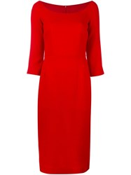 Ultrachic Fitted Midi Dress Red