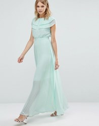 Warehouse Pleated Cape Detail Maxi Dress Mint Green