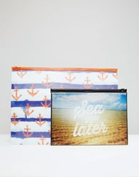 Paperchase Sea You Later Zip Lock Pouches Pack Of 2 Multi