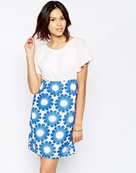 Traffic People Send Me No Flowers Reckless Dress With Floral Crochet Skirt Blue