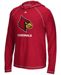 Adidas Men's Louisville Cardinals Loyal Fan Climalite Hooded Long Sleeve T Shirt Red