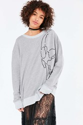 Truly Madly Deeply Embroidered Skull Sweatshirt Grey