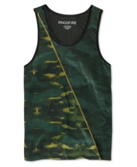 Ring Of Fire Men's Green Camouflage Print Tank