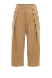 Closed Cropped Cotton Pants Camel