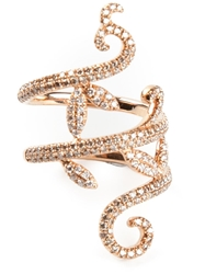 Elise Dray Gold And Diamond Pave Demi Flower Ring Metallic