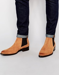 Asos Pointed Chelsea Boots In Tan Suede