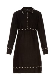 Jupe By Jackie Ponselle Embroidered Point Collar Wool Dress Black