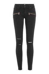Paige Distressed Skinny Jeans With Zippers Gr. 24