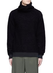 Scotch And Soda Twisted Collar Fleece Jersey Sweater Black