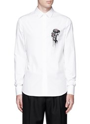 Alexander Mcqueen Dripping Flower Embroidery Poplin Shirt White