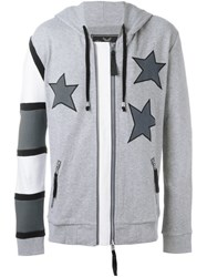 Unconditional Americana Patched Hoodie Grey