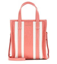 Balenciaga Bazar Shopper Xs Striped Leather Shopping Bag Pink