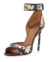 Floral Print Leather Ankle Wrap Sandal Givenchy