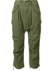 R 13 R13 Drop Crotch Cropped Trousers Green