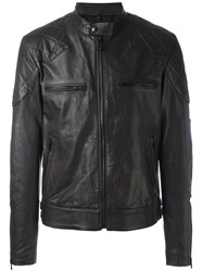Belstaff Zipped Leather Jacket Brown