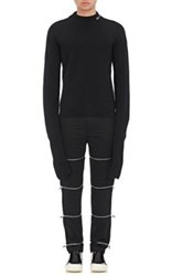 Hood By Air Men's Extra Long Sleeve Wool Cashmere Sweater Black