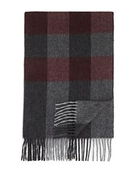 Bloomingdale's The Men's Store At Cashmere Box Check Scarf Charcoal Deep Wine