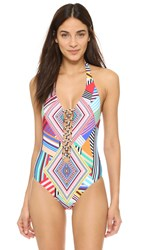 Red Carter Mediterranean Vacation Plunge Swimsuit Black And White Multi