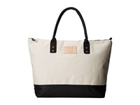 Will Leather Goods Getaway Tote Canvas Natural Black Luggage Beige
