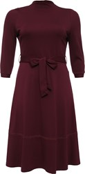 Lost Ink Curve Belted Dress With Full Skirt Red