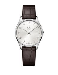 Calvin Klein Classic Stainless Steel Brown Leather Strap Watch K4d221g6