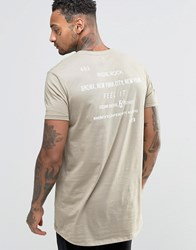 Asos T Shirt With Indie Rock Back Print In Relaxed Fit Tawny Beige
