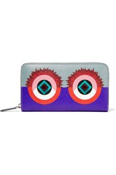 Fendi 2Jours Embellished Textured Leather Continental Wallet Violet