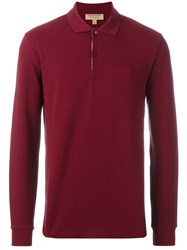 Burberry Long Sleeved Polo Shirt Red