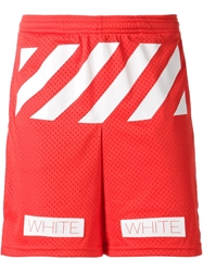 Off White Printed Track Shorts