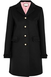 Gucci Ruffle Trimmed Wool Coat Black