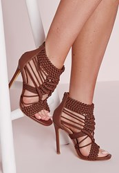 Missguided Origami Rope Heeled Sandals Tan Brown