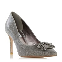 Dune Betti Jewelled Mid Heel Court Shoes Gold Metallic