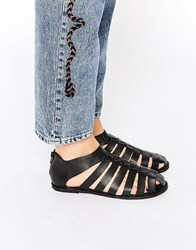 Ravel Gladiator Leather Flat Shoes Black
