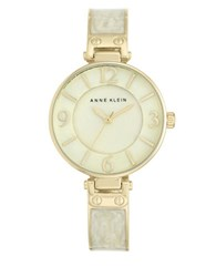 Anne Klein Goldtone Ivory Enamel Bangle Watch Ak 2210Imgb