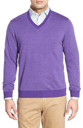 Men's Bobby Jones Merino Wool V Neck Sweater Eggplant