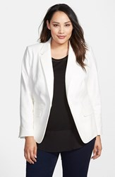Plus Size Women's Vince Camuto One Button Blazer New Ivory