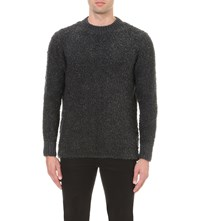 Blood Brother Boucle Knitted Jumper Grey